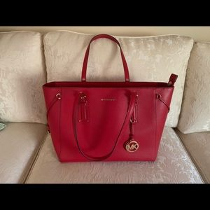 Michael Kors Medium Voyager Red Leather Tote